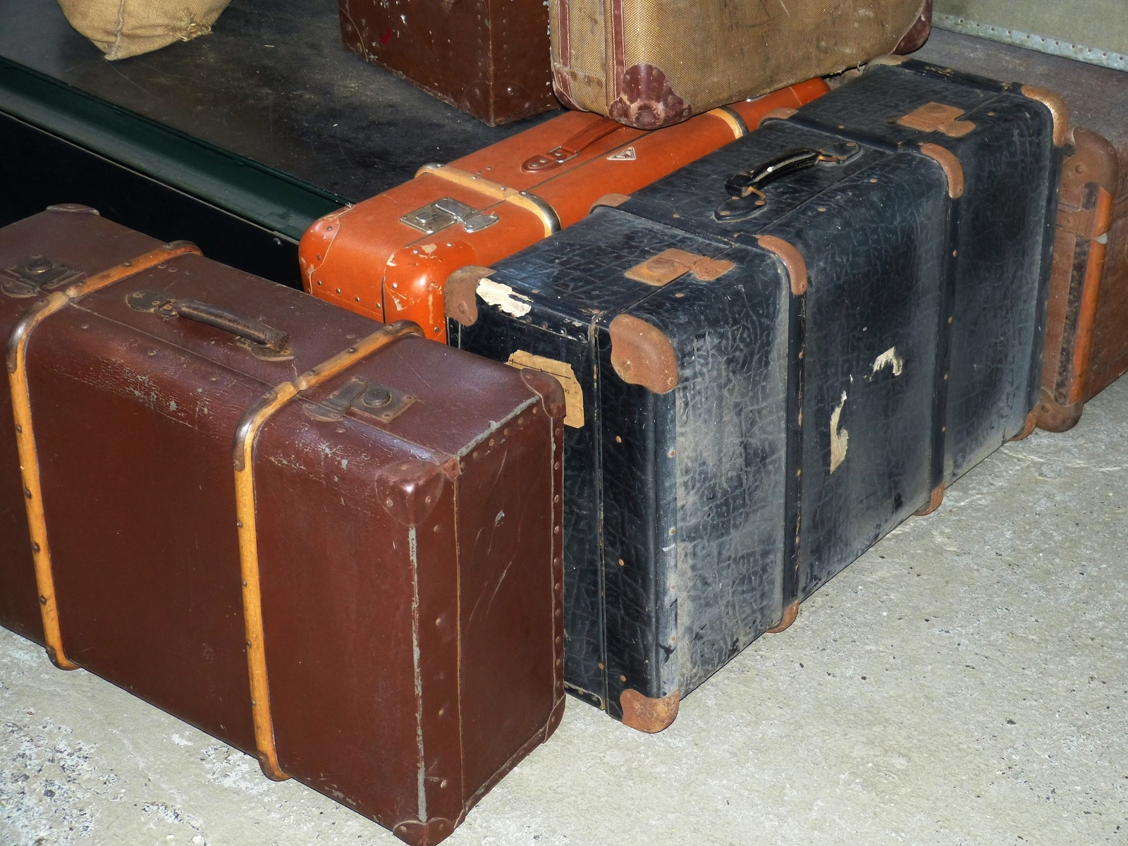 old passenger luggage on trains