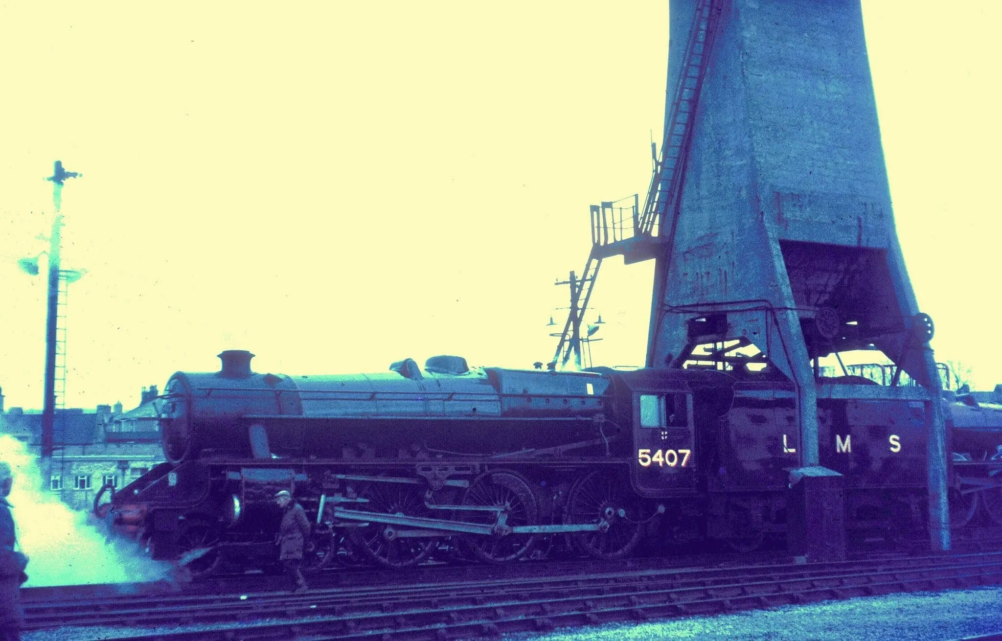 Stanier Black Five 5407 with coaling tower at Carnforth