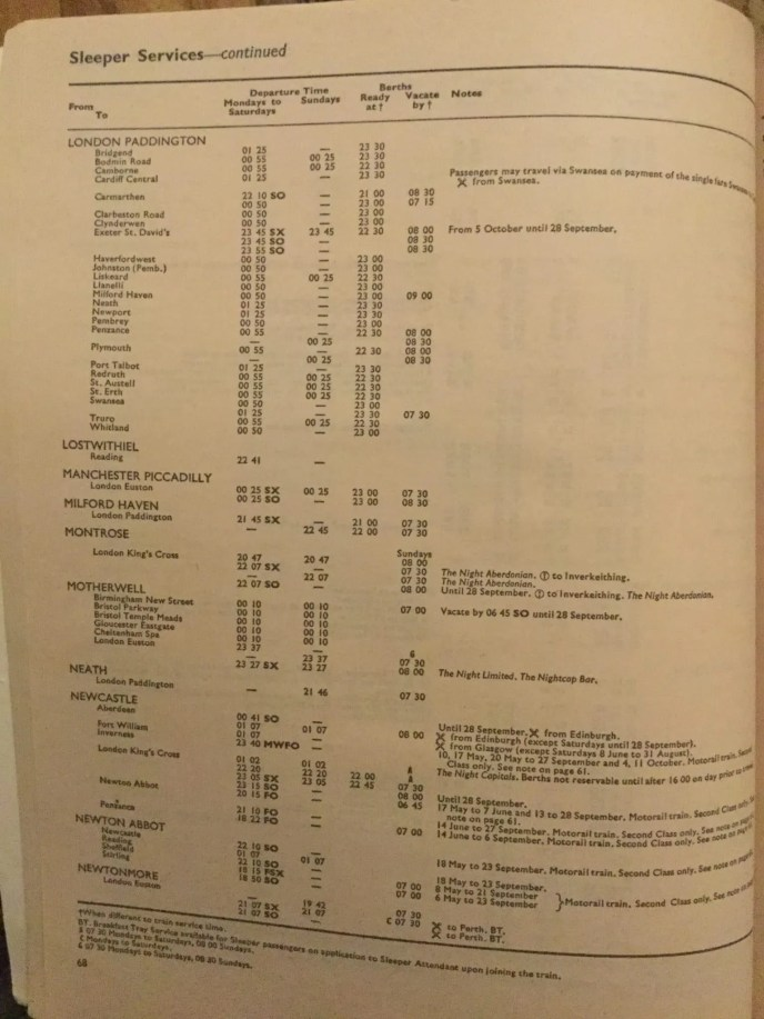 Caledonian sleeper heritage train timetable from 1974