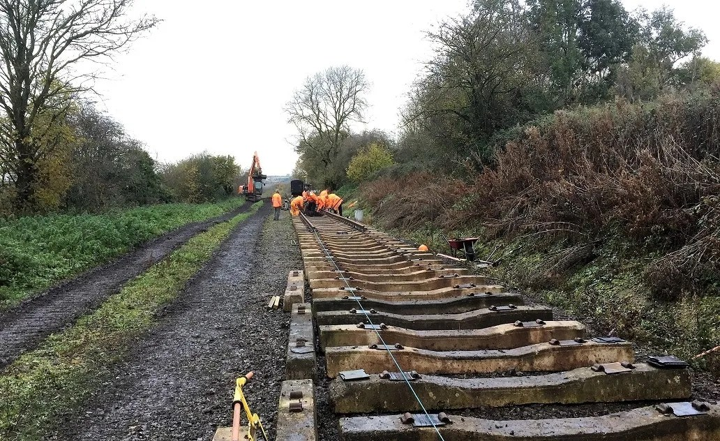 Newly laid railway sleepers on the P-Way at the Somerset and Dorset Railway