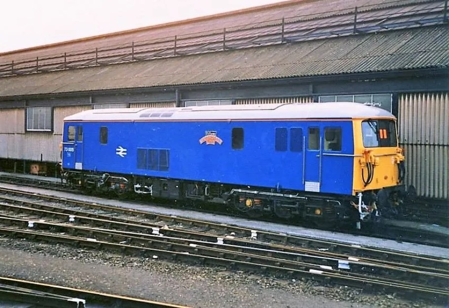 Class 73 Electro diesel 73005 named 'Mid-Hants Watercress Line' at Clapham Junction Yard