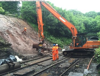 Engineers working on the embankment at Middlewood