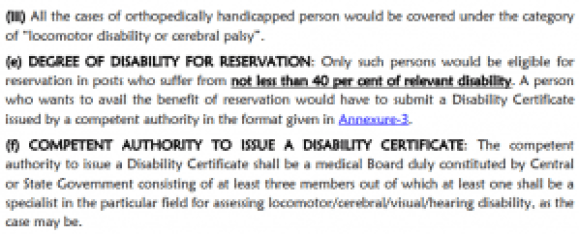 Standards Fitness for Person with Disability