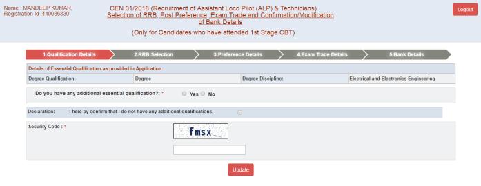 RRB ALP Qualification Modification - Step 5