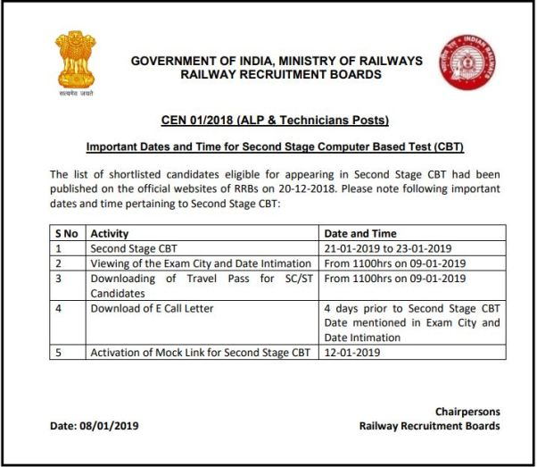 rrb alp cbt 2 admit card