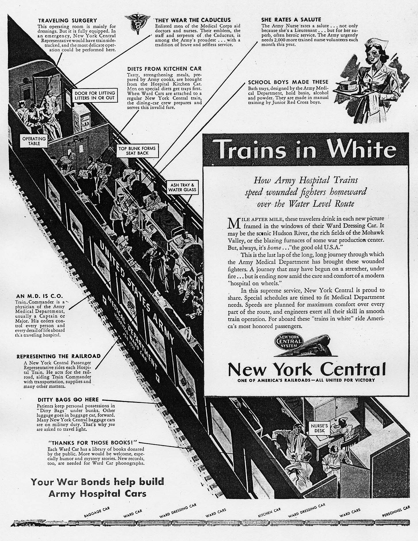hight resolution of trains in white ad from new york central