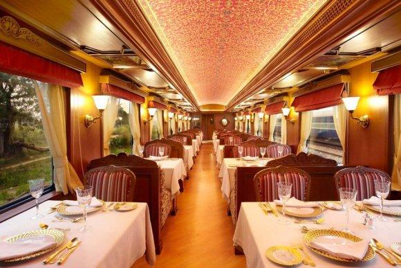 Maharajas Express train dining restaurant car