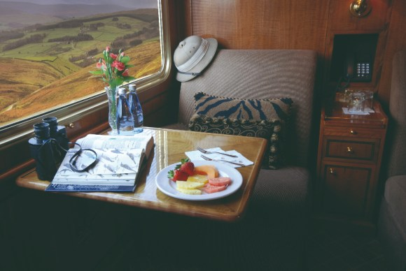 The Blue Train South Africa de Luxe suite lounge by day