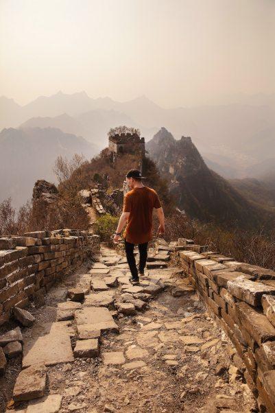 Great Wall of china man walking
