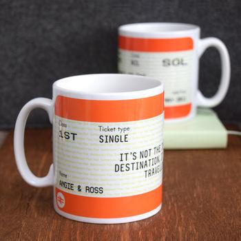 personalised train ticket mug