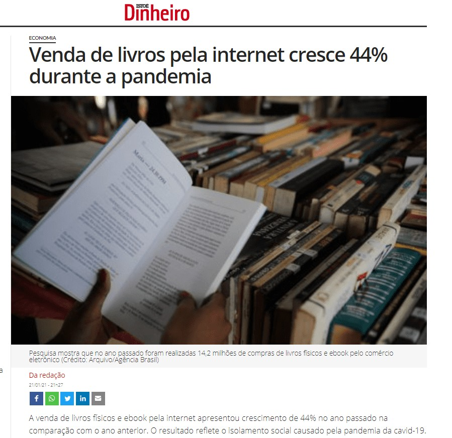 Venda de livros pela internet cresce 40% durante a pandemia