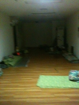 Some of the sleeping quarters- churchmembers were rationed 2-3 sleeping bags each.