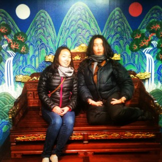 There was an underground exhibit featuring one of the Korean emperors of old and we posed in front of this facade.