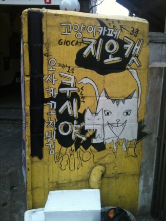 Amazing cat graffiti in front of a cat cafe, where you pay around $10 for a drink in the company of many cats.