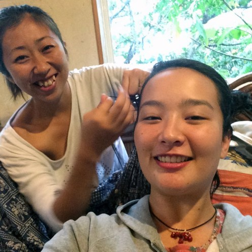 Nami braids my hair. She is about my age and is the proud mother of two adorable toddlers (Mirai and Nagi).