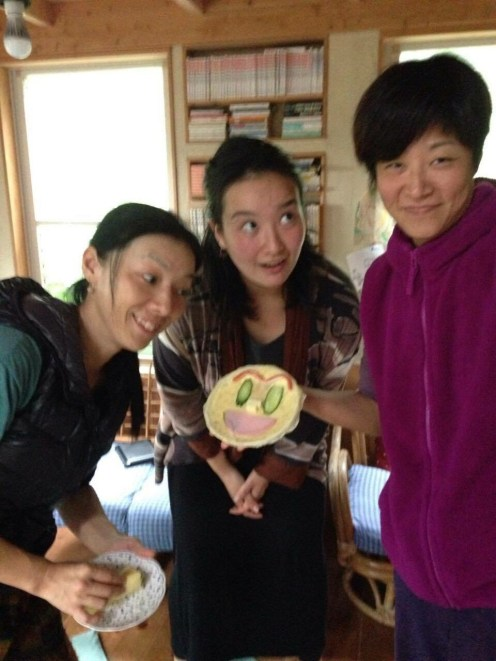Fumi, Sanae, and I have a crepe and onigiri making party. We often get together to practice English and Japanese. There is never any pressure or lingual expectation, so it is always fun and relaxed.