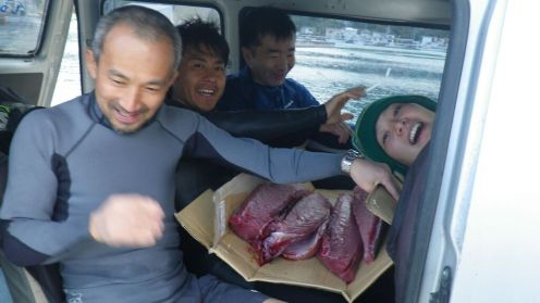 We carry the fish, nestled in cardboard, in the backseat.