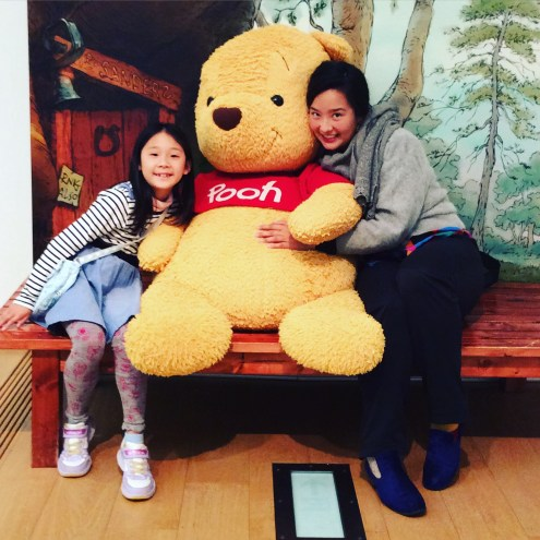 Aunt Yukoku, Miku and I went to see a Pooh-bear exhibition.