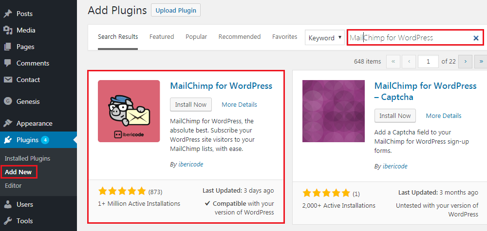 How to Add MailChimp Subscribe Form to WordPress - Plugin Instalation