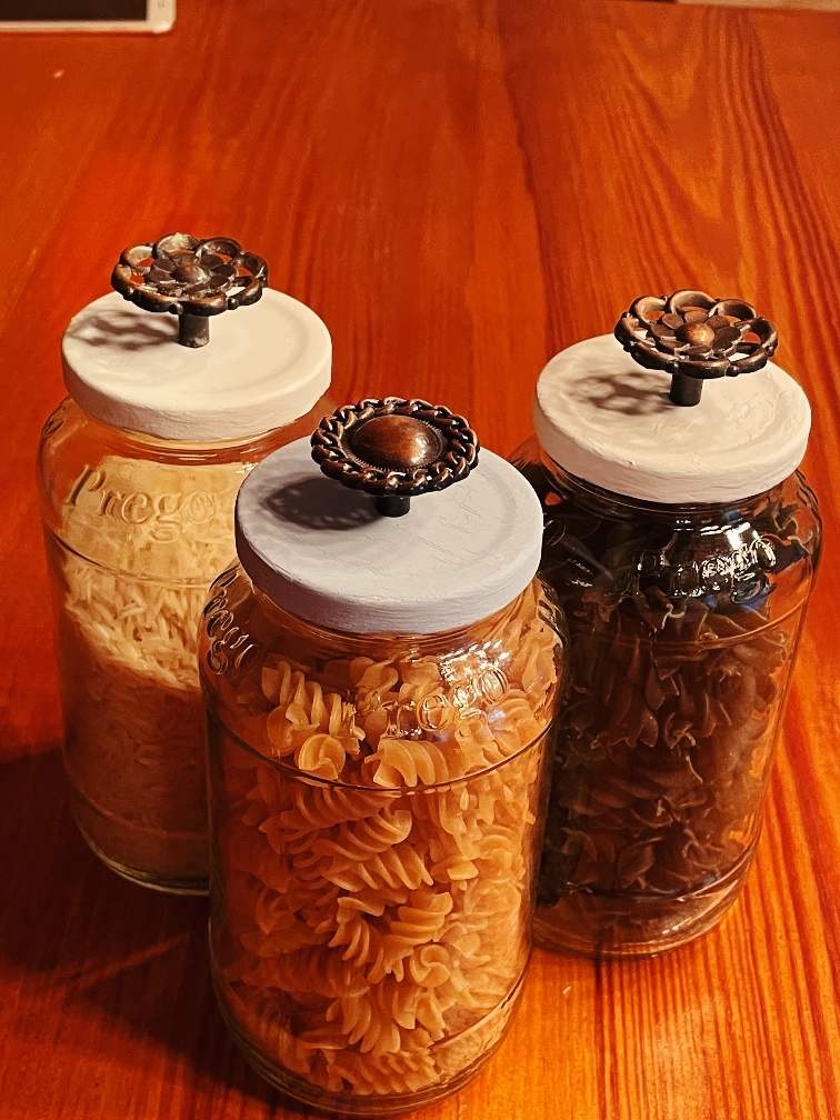 Farmhouse Style Upcyled Jars With Vintage Knob Covers