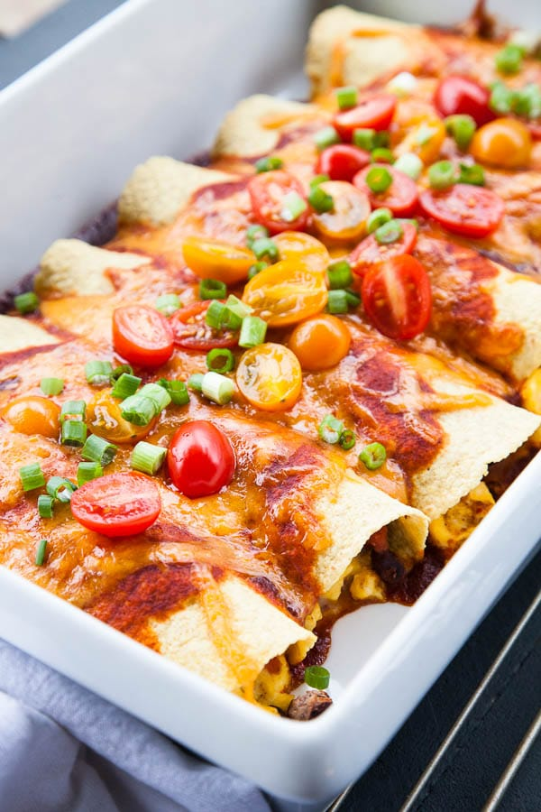 Bean Veggie Enchiladas Black And