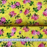 Bomullsjersey  gul med blomster