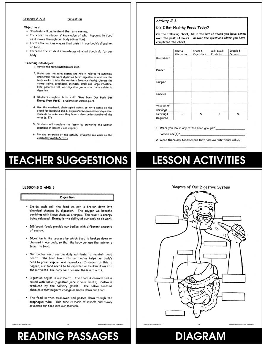 hight resolution of Nutrition: Food \u0026 Healthy Eating - Grades 4 to 6 - Print Book - Lesson Plan  - Rainbow Horizons