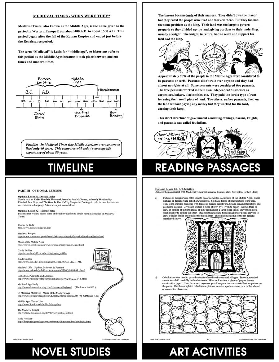 hight resolution of Medieval Times - Grades 4 to 6 - eBook - Lesson Plan - Rainbow Horizons