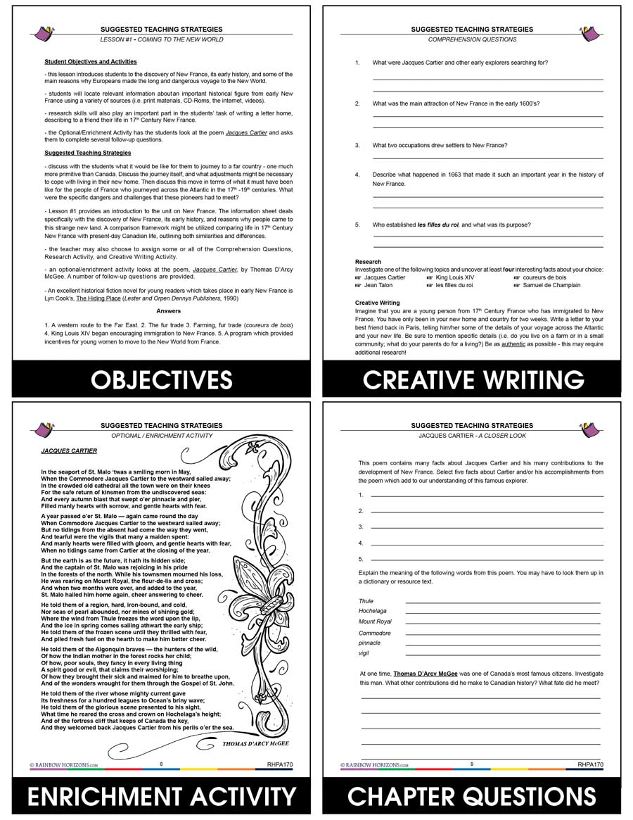 hight resolution of Grade 7 History New France Worksheets - The Best Picture History