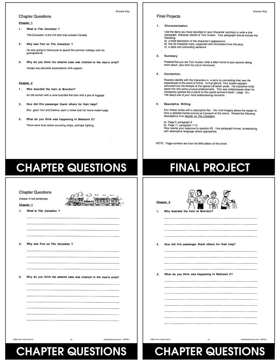 medium resolution of Murder On The Canadian (Novel Study) - CHAPTER SLICE - Grades 6 to 8 -  eBook - Chapter Slice - Rainbow Horizons