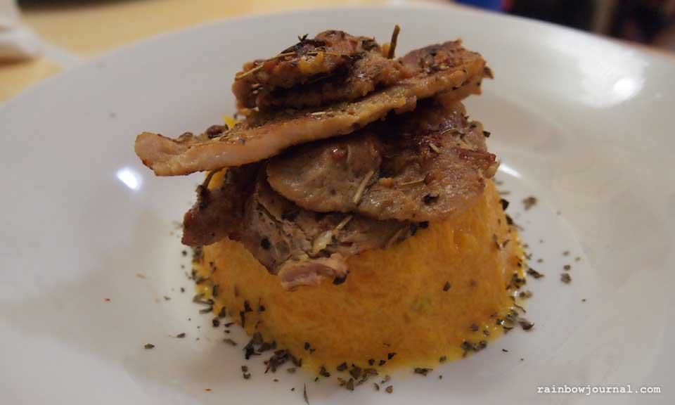 Marinated Pork with Mashed Yellow Pumpkin