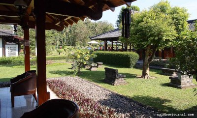 Restaurant by the garden at Manohara Hotel near Borobudur temple in Indonesia