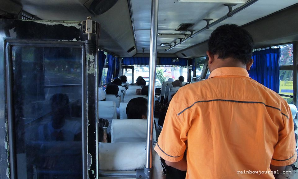 On a bus back to Yogyakarta from Prambanan temples in Indonesia