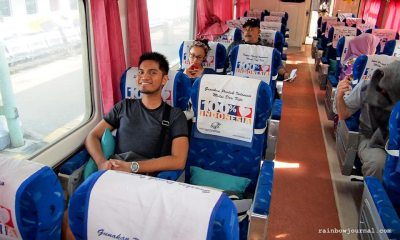Inside Taksaka train at Gambir Station Jakarta, train from Jakarta to Yogyakarta