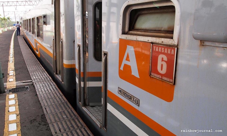 Train at Gambir station Jakarta. Jakarta to Yogyakarta by train.
