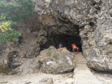 The cave cuts through Cuenco Island leading to the cliff diving platform