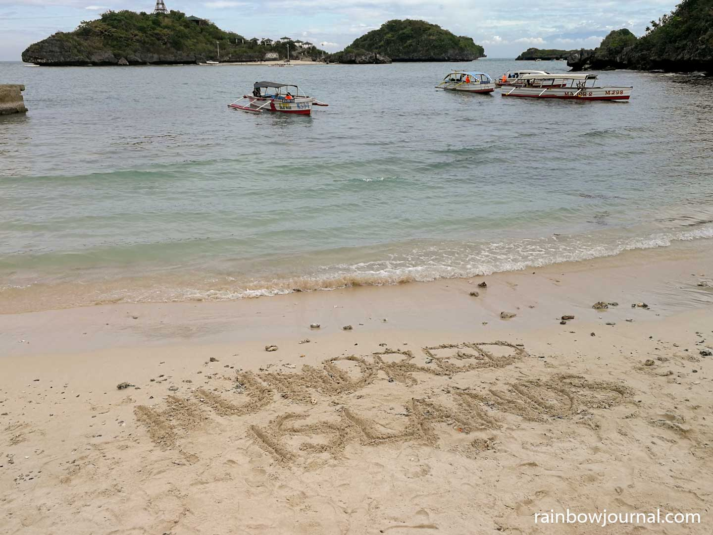 Hundred Islands sand writing