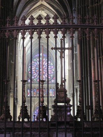 Purple stained glass in the cathedral