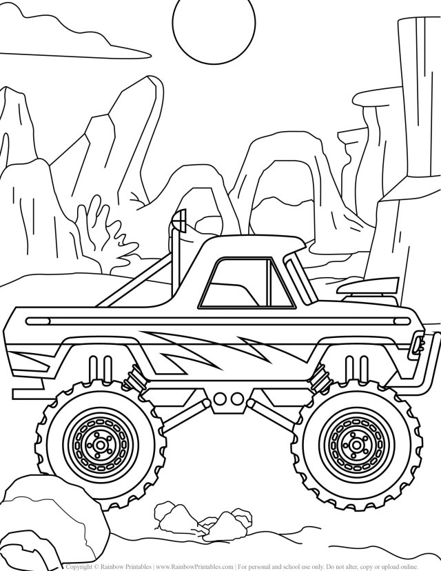 21 Free Monster Truck Coloring Pages - Rainbow Printables