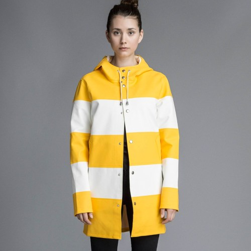 Cute yellow white striped Raincoat for women
