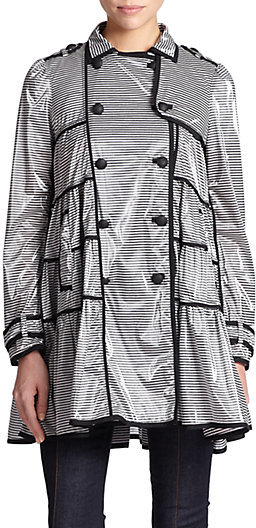RED Valentino Coated Striped Raincoat
