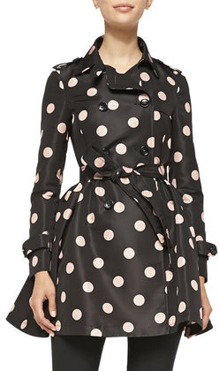 RED Valentino Polka-Dot Belted Trench Coat