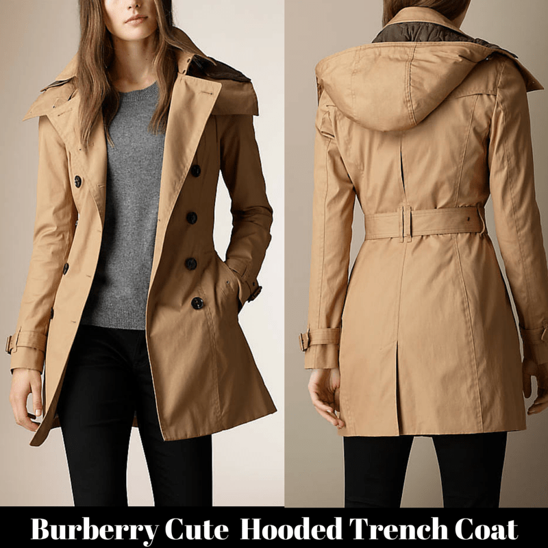 Burberry cute Hooded Trench Coat with warmer
