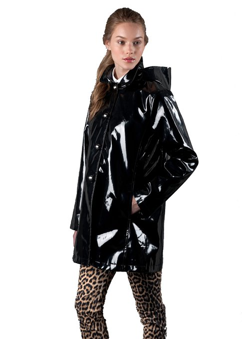 Jane Post Rubberized Raincoat with Detachable Hood, Black
