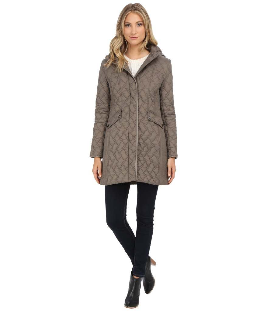 Larry Levine Womens Quilted Jacket With Hood