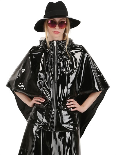 STELLA HOODED BLACK SHINY VINYL CAPE