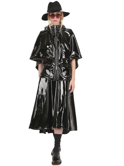 Womens Black Shiny Raincoat