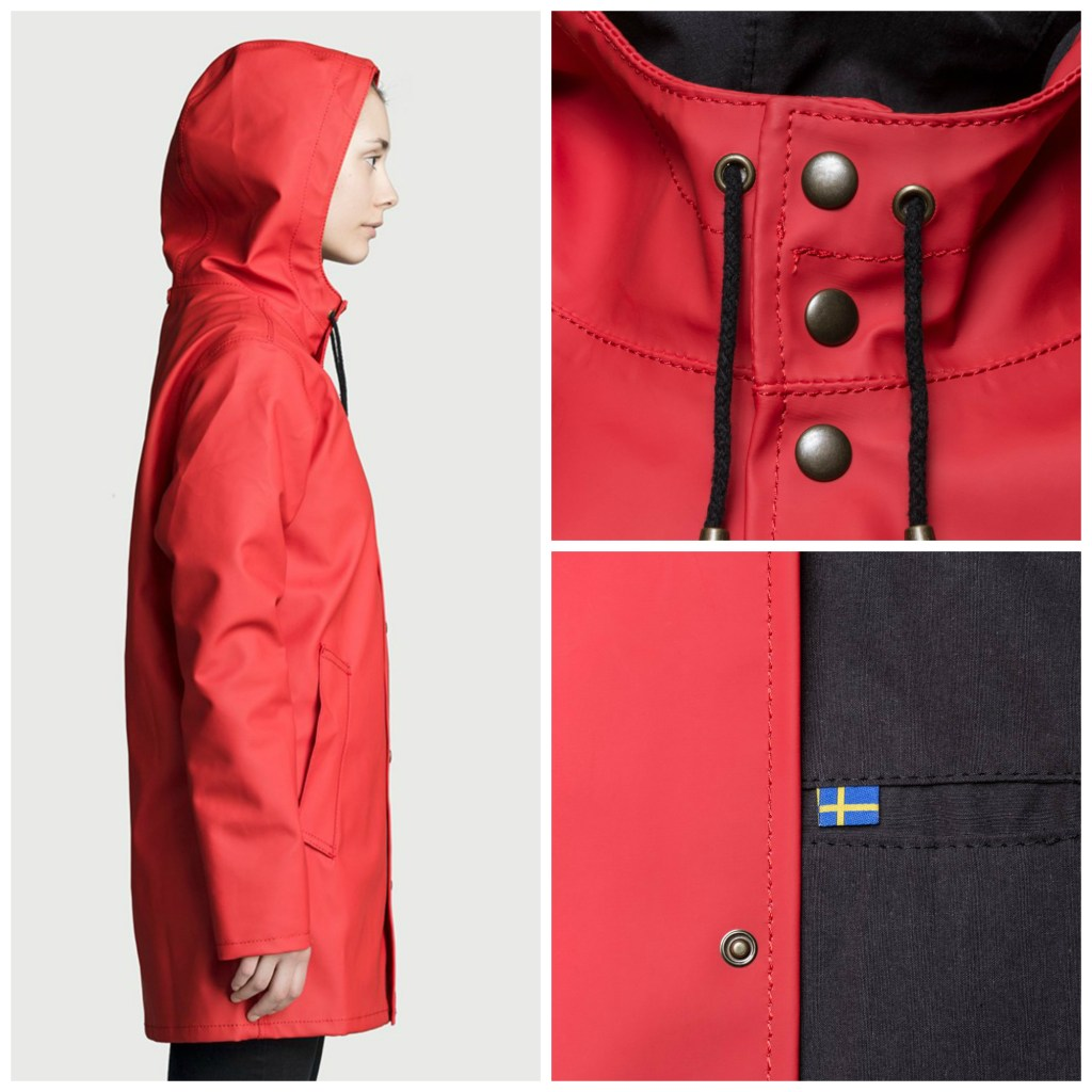 Red Rubber Raincoat for Women