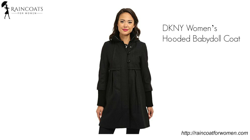 DKNY Women's Hooded Babydoll Coat