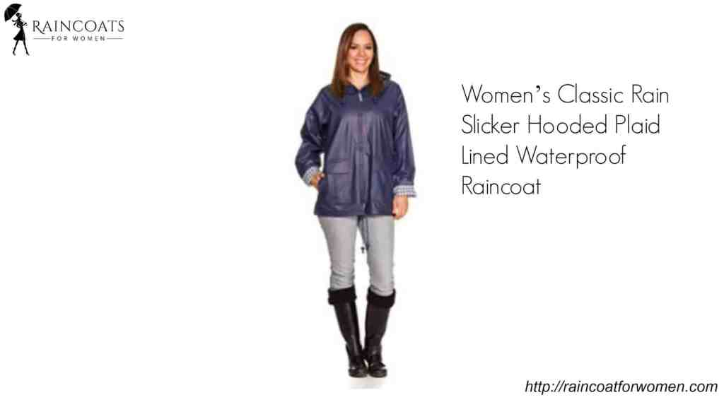 Women's Classic Rain Slicker Hooded Plaid Lined Waterproof Raincoat
